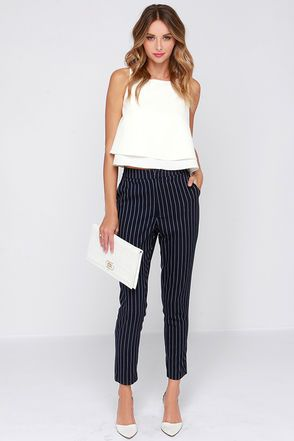 Navy Blue Pants - Striped Pants - High-Waisted Pants - $46.00