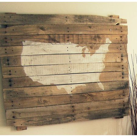 Pallet Wall Art DIY Projects - The Cottage Market. Decoupage an antique US map or any map