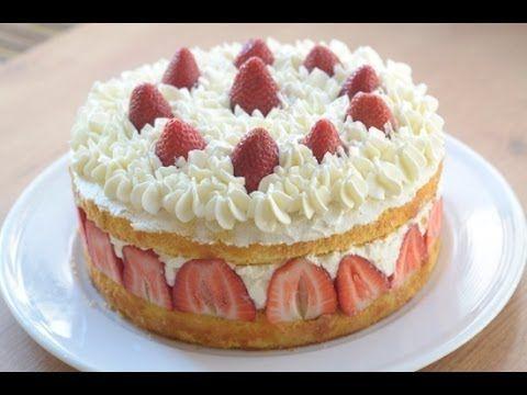 Tarta de fresas, nata y Mascarpone. Video receta.   Las Recetas de Mamá