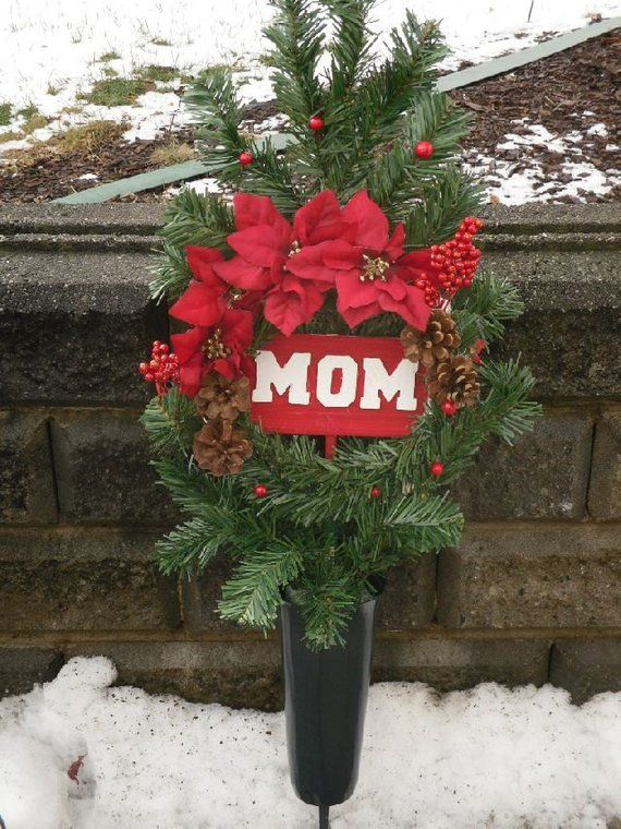 Christmas Cemetery Silk Flowers, Gravesite Flowers, MOM Memorial Flowers,  Holiday Memorial Flowers, Red Poinsettias - Christmas Cemetery Silk Flowers, Gravesite Flowers, MOM Memorial