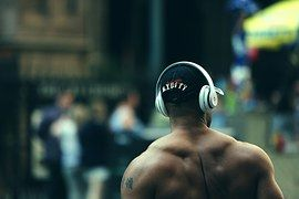 보디, 근육, 적합, 역도, 교육, 운동, 남자, 비트, 헤드폰, 도시