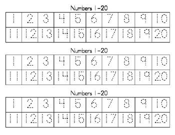 These are reproducible strips to practice writing the numbers 1-20.  One page has dotted numbers to trace. The blank one is to practice writing the numbers. Copy back to back for more practice.  Use the blank copy with score on it as an assessment.  Enjoy! ~ML