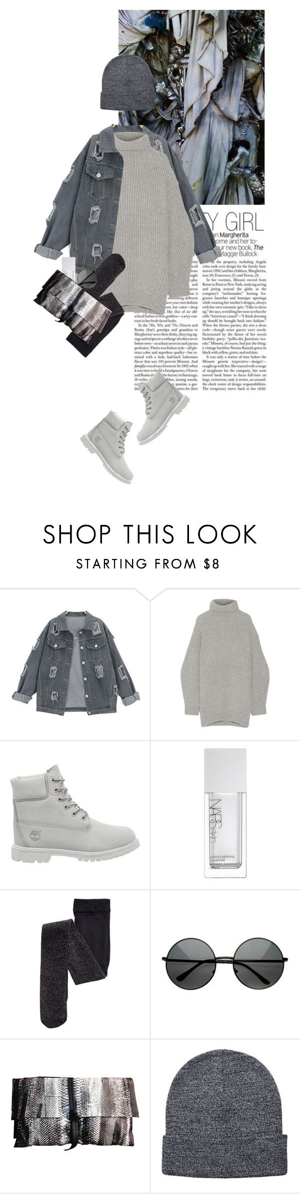 """""""denim in winter"""" by rosa-loves-skittles ❤ liked on Polyvore featuring Acne Studios, Timberland, NARS Cosmetics, Carlos Falchi, Pieces, denimjacket, timberland, combatboots, winterboots and jeansvest"""
