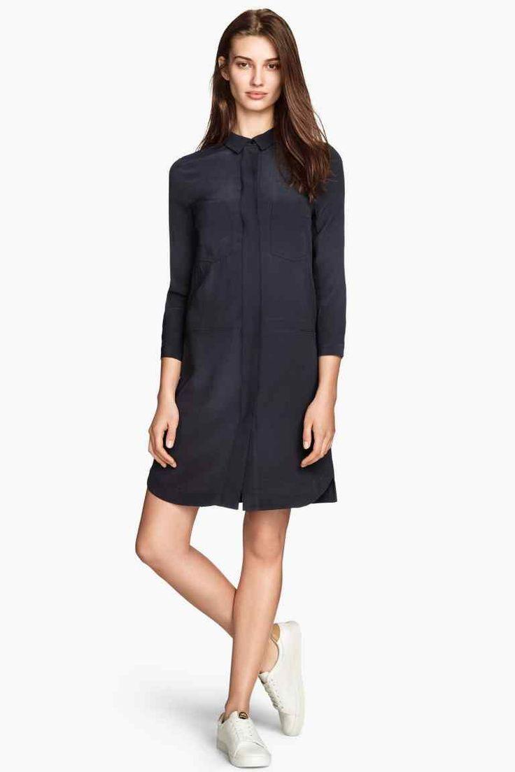 Robe chemise en tissu cr p h m benchmark port robe chemise robe et tissu crepe - Porte chemise dressing ...