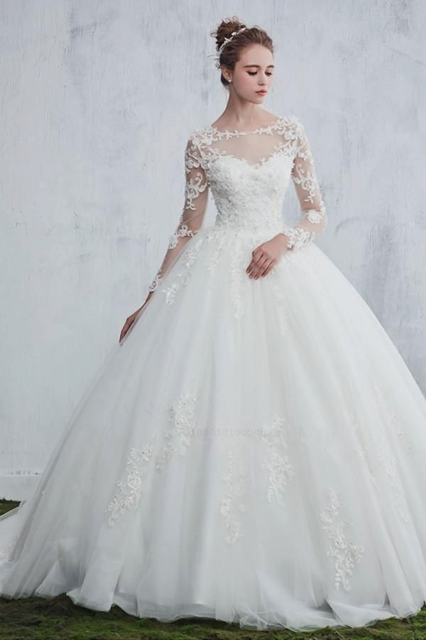 Wedding Dresses Ball Gown Pockets Wedding Dress With Appliques Long Sleeves Wedding D In 2020 Wedding Dresses Lace Ballgown Ball Gowns Wedding Ball Gown Wedding Dress