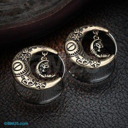 Golden Steampunk Crescent Moon Dangle Ear Gauge Plug                                                                                                                                                                                 More