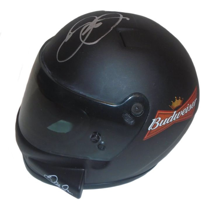 """Dale Earnhardt Jr. Autographed 1:3 Scale Nascar #8 Budweiser Mini Helmet, Proof Photo. This is a Dale Earnhardt Jr. signed 1:3 Scale Budweiser #8 replica Nascar racing mini helmet.The helmet measures approximately 6 3/4"""" long x 5 1/2"""" wide x 5"""" tall. Dale signed the helmetin silver sharpie.Check out the photo of Dale signing for us. ** Proof photo is included for free with purchase. Please click on images to enlarge. Please browse our websitefor additional Nascarand Racingautographed…"""