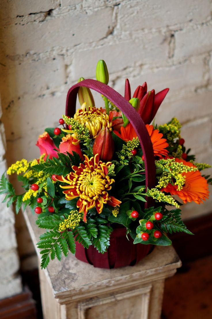 366 best flowers in basket images on pinterest flower for Fall fake flower arrangement ideas