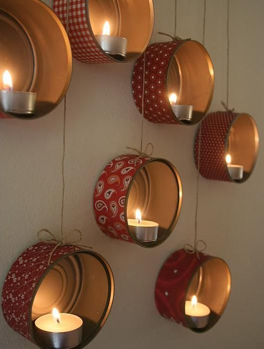 Candle holders created from tuna cans and scrapbook paper - hanging tea