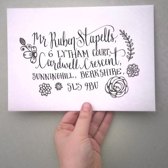 Check out this item in my Etsy shop https://www.etsy.com/uk/listing/215619589/custom-hand-calligraphy-envelopes