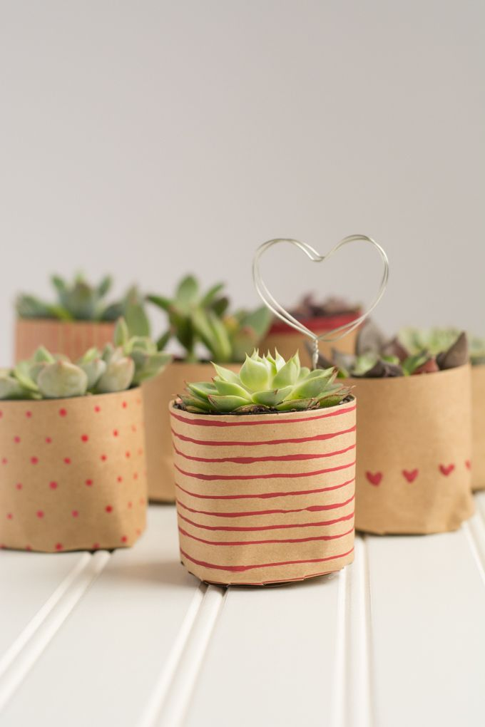 Paper Bag Succulents for Valentine's Day ~ Lulu the Baker