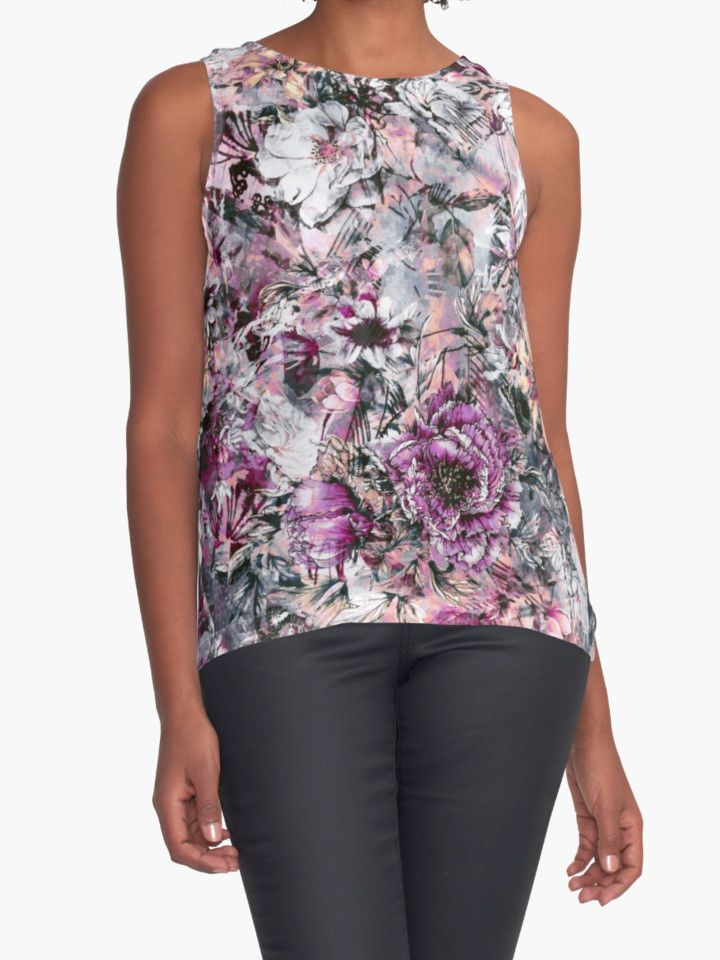 Surreal Garden by RIZA PEKER #women #fasfion #tank #top #floral #summer #style #girls