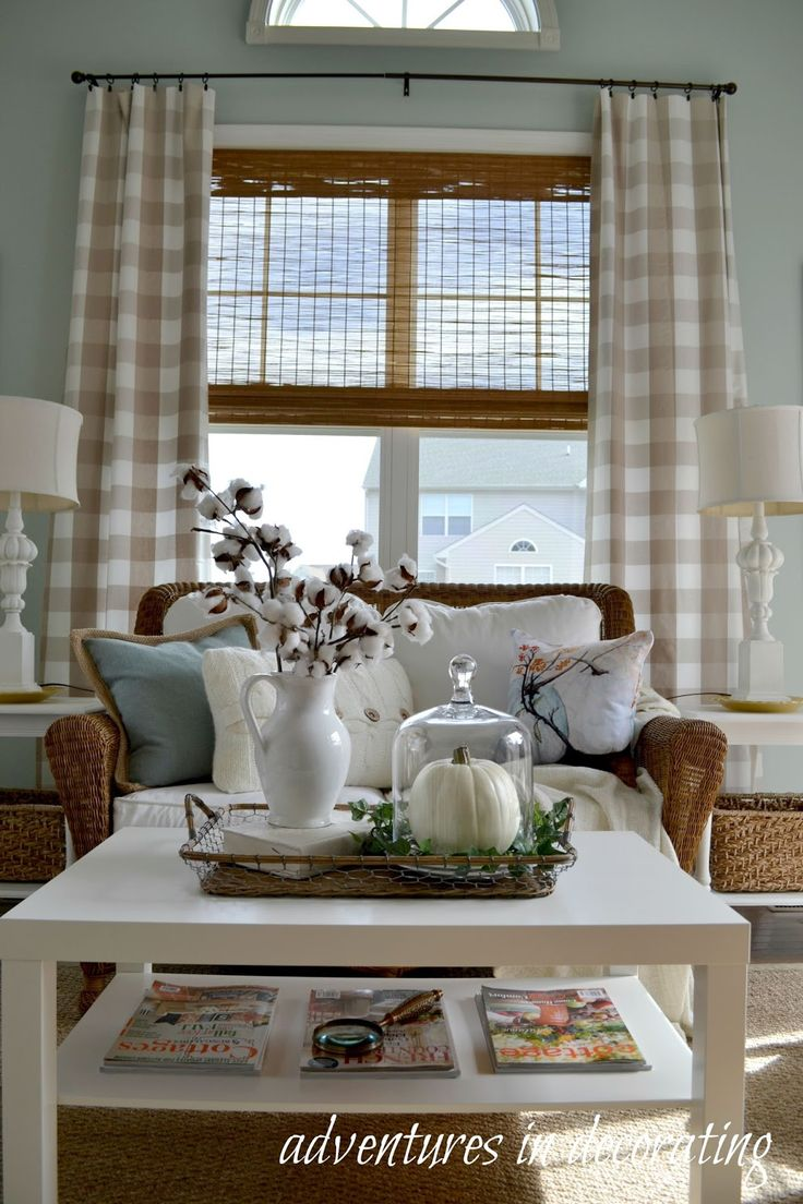 Love the décor in this room, especially the buffalo check curtains  Adventures in Decorating: Our 2015 Fall Sunroom