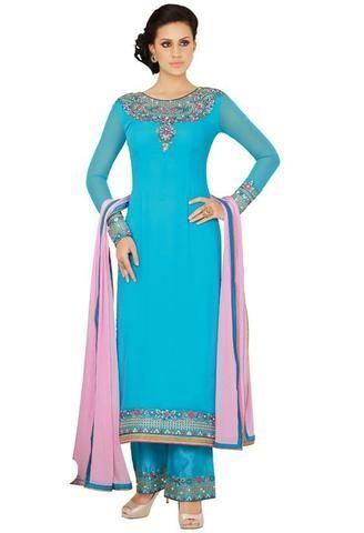 Georgette Blue Partywear Designer Salwarsuit ,Indian Dresses - 1