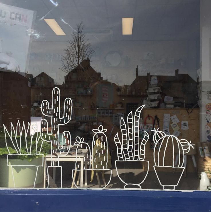 Cacti #windowdrawing in the storefront of http://lieve-lings.nl #raamtekening