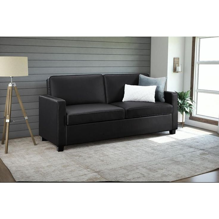 Casey queen size black faux leather sleeper sofa 2152007