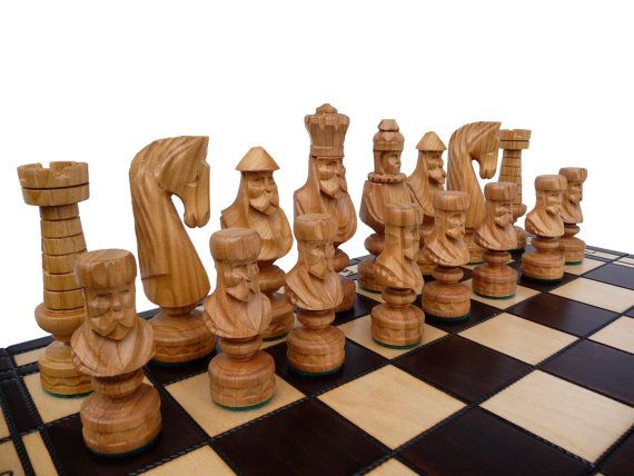 Unique Handmade Wooden Chess Set, Christmas Gift Idea