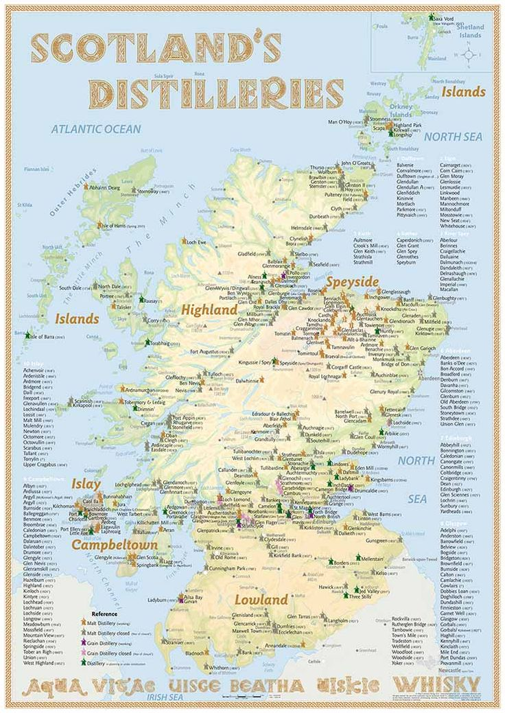 Scotland's Distilleries Map (2015 Poster) · with all Whisky Distilleries in…