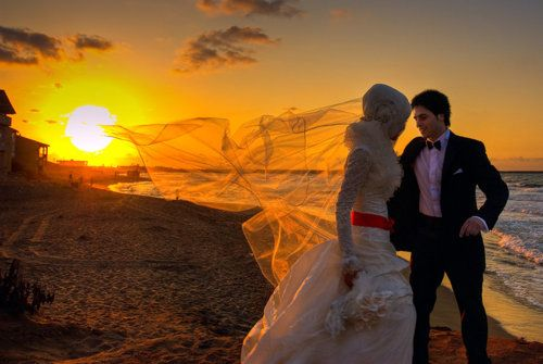 hijabi beach wedding.