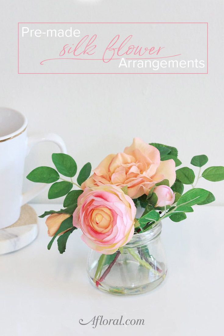 Home bulk roses peach roses - Faux Coral Rose Ranunculus Pre Made Arrangement Tall