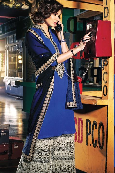 Blue Chiffon Pakistani Style Straight Cut Suit