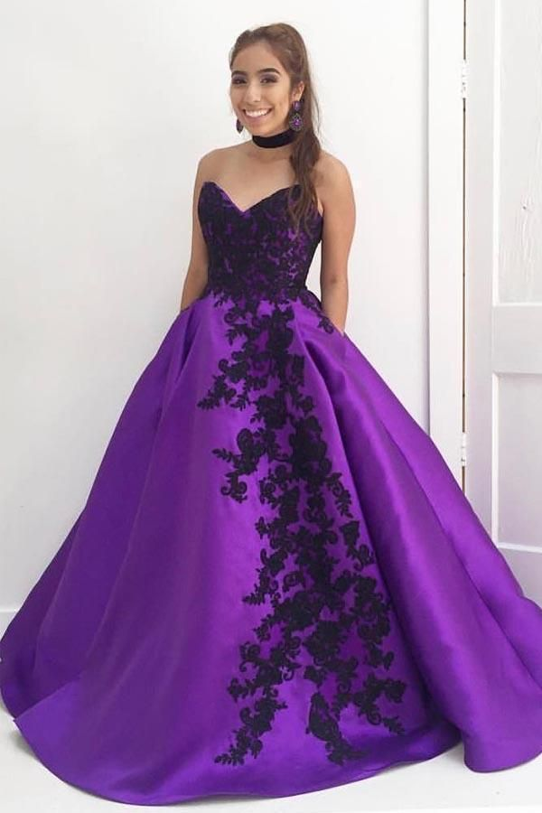 Prom Dress Black Ball Gown Prom Dress Purple Prom Dress Long Prom