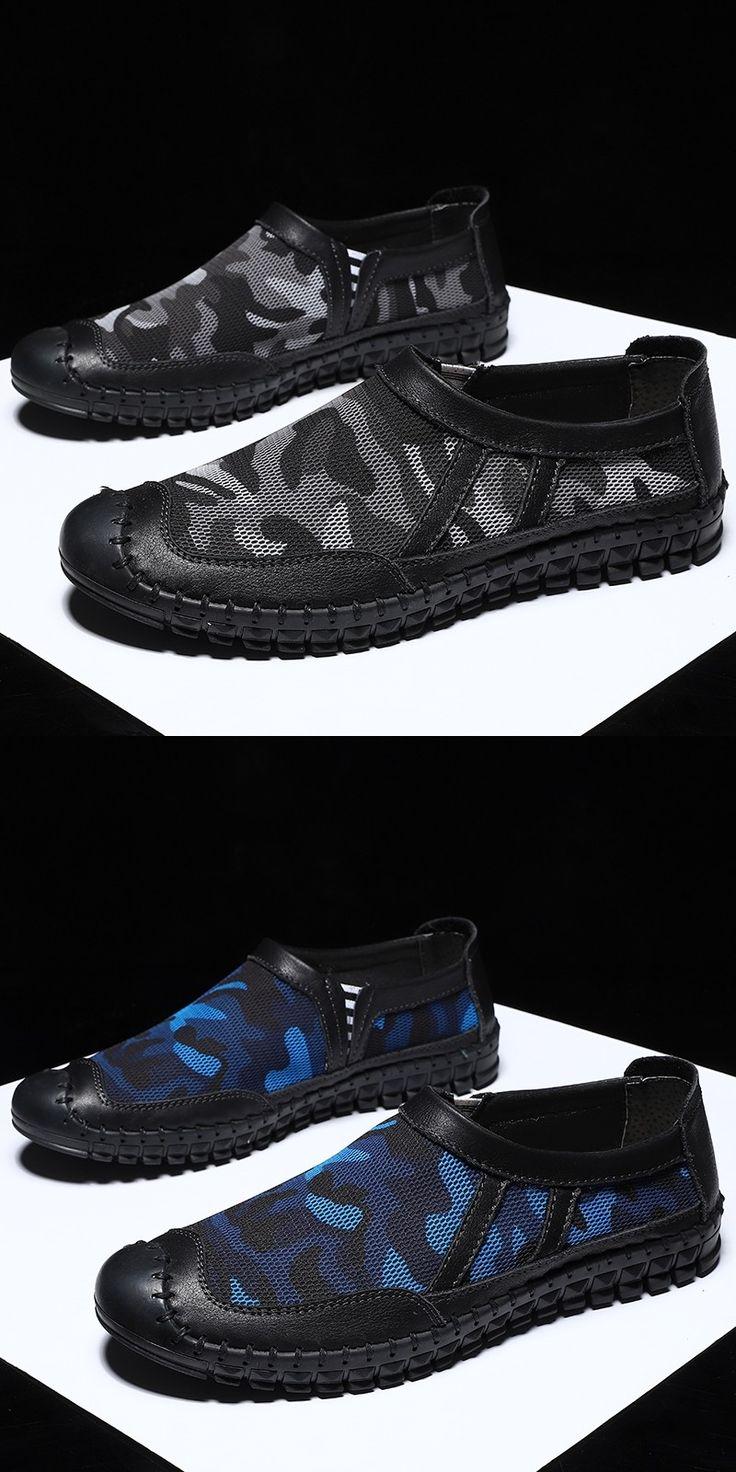 Prelesty Verão Malha Homens Deslizamento Casual Em Sapatos Padrão de Camuflagem Respirável Cap Toe Protect   – Sapatos masculinos