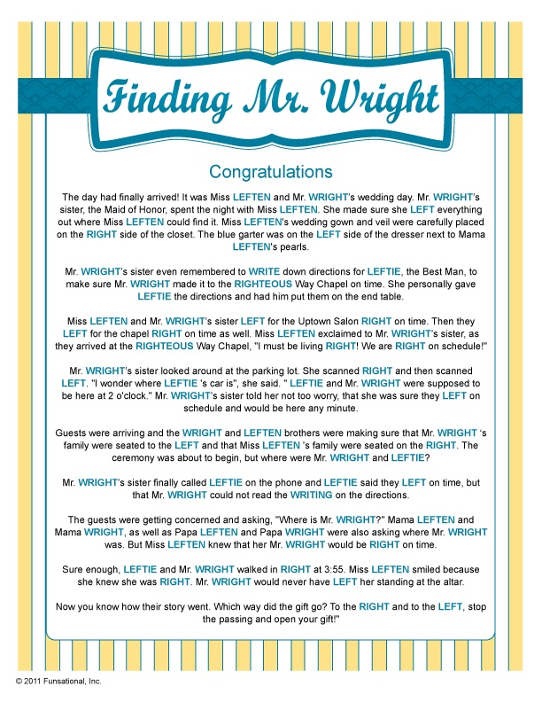 finding mr wright wedding shower gamesbridal