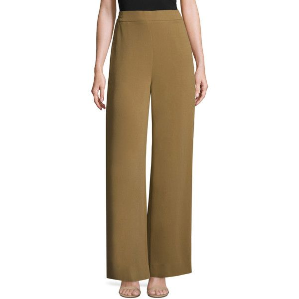 JONATHAN SIMKHAI Women's Crepe Smocked Wide Leg Pant - Camel, Size 0 ($170) ❤ liked on Polyvore featuring pants, camel, brown trousers, camel trousers, brown pants, crepe pants and camel pants