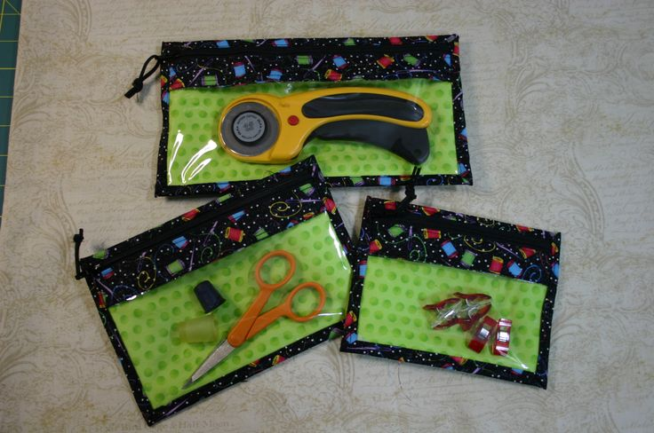 Bridget's Bagettes are fun zippered pockets with clear vinyl windows perfect for holding quilting or sewing supplies as well as makeup, coins or whatever else you need a little zippered pouch for. ...