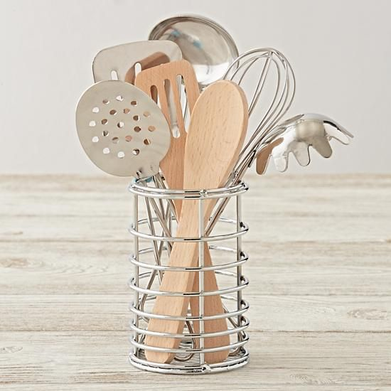 Shop Kids Cooking Utensils.  Youngsters can pretend to play chef with this kids kitchen accessories set.  It includes seven play cooking utensils, including a whisk, ladle, spatula and more.  The set is even dishwasher safe, too.