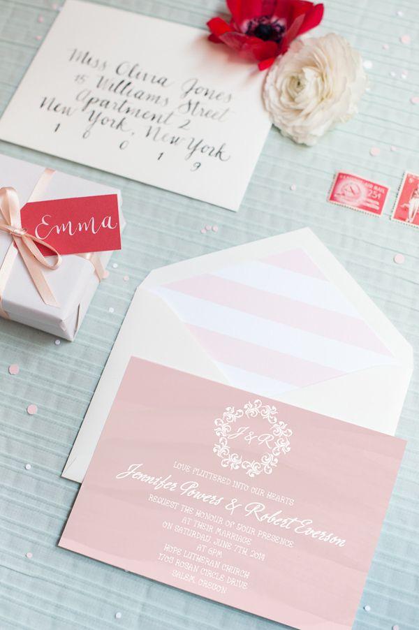 beach nautical themed blush pink watercolor summer wedding invitations