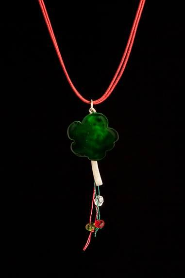 Necklace 24  Handmade pendant big tree,made of sandblasted silver 925 with cold enamel and liquid glass  Waxed cord with edges and clasp made of silver 925.Cord length 40 cm  The tree is associated with particular symbolism as a source of life, inspiration, and creativity