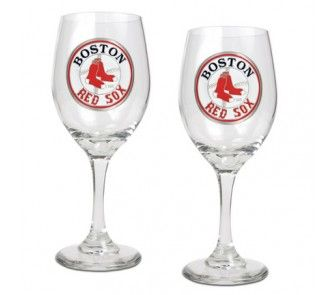 Boston Red Sox 2 Piece Wine Glass Set