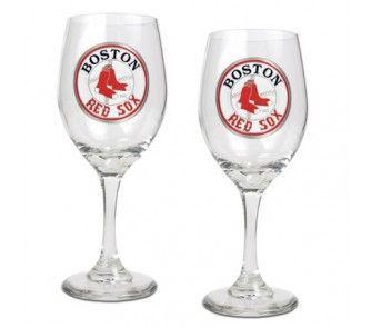 Boston Red Sox 2 Piece Wine Glass Set