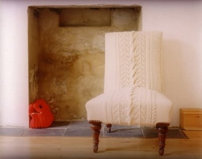 cable knit slipper chair. i die.