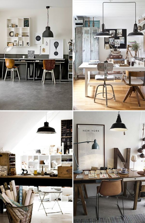Love these work spaces with lighting by lamps plus