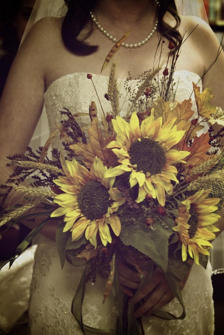 Sunflower Autumn Wedding Bouquets.
