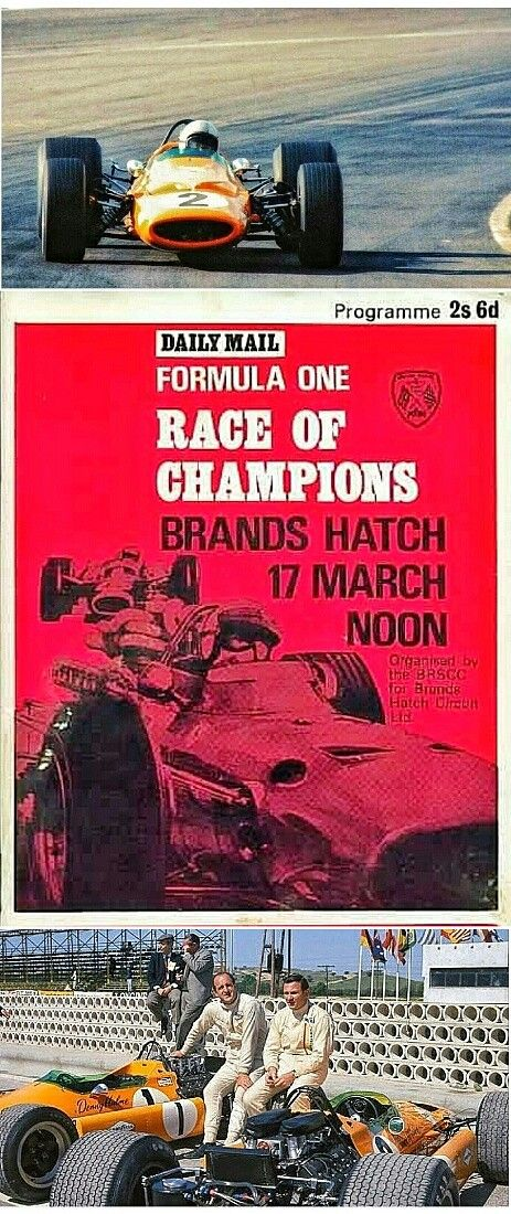 Bruce McLaren and Denny Hulme powered their McLaren M7A's (pictured) to first and third place at the 3rd annual Race of Champions, held on 17 March 1968 at Brands Hatch circuit in Kent, UK. The McLaren team dominated the event, but the Lotus team went on to take the'68 Constructors Championship, ahead of  the McLaren team in second.