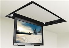 """Hide your TV in the ceiling with this motorized flip down TV ceiling mount bracket that fits most 50"""" to 60"""" displays. The FLP-310 lift can specifically accommodate TVs up to 35 1/2 in. (90.17 cm.) high by 5. The open top design of the mounting bracket allows for TVs up to 3.75"""" when there is a ceiling above otherwise up to 5"""" TV depth for open design above without any structure for mount to recess back to up position."""