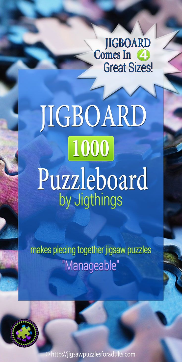 "Jigboard 1000 by Jigthings is the ideal solution when it comes working on your jigsaw puzzles. This jigsaw puzzle board makes piecing together your favorite jigsaw puzzles ""Manageable""."
