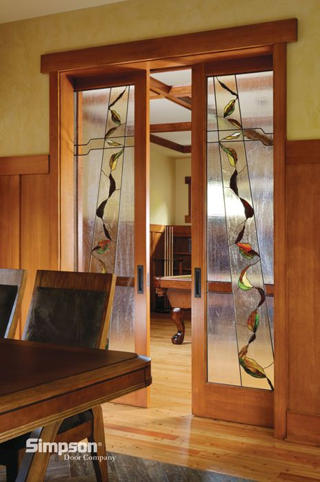 decorative glass interior french doors shown in douglas fir