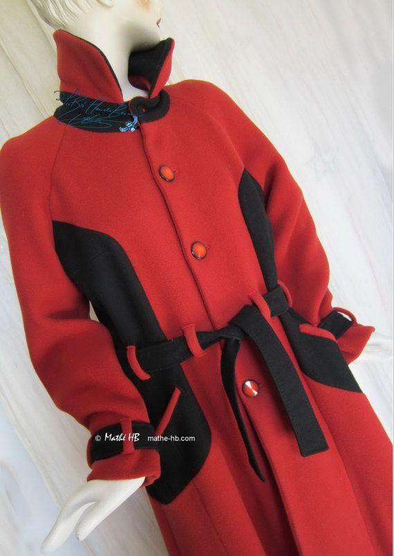 manteau long d'hiver laine rouge brique et noir par MatheHBcouture