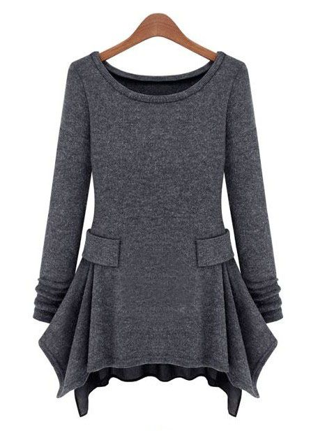 Dark Grey Long Sleeve Ruffles Pockets Dress <3