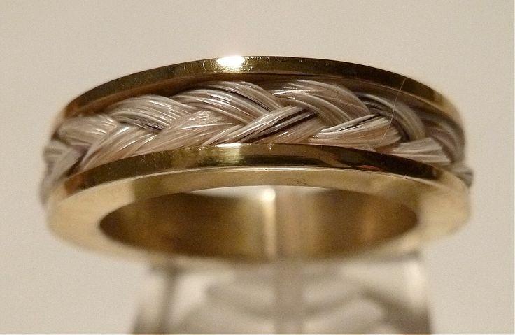 Anillo con Crin de Caballo, en plata 925 bañado en Oro 18k
