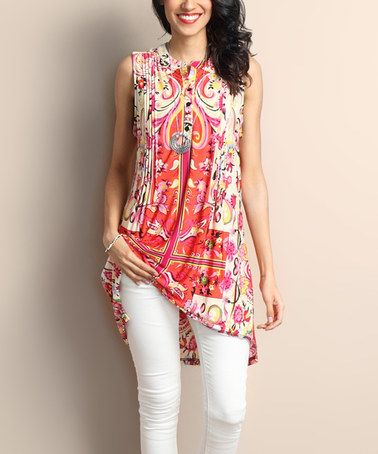 Look what I found on #zulily! Orange Paisley Pin Tuck Notch Neck Tunic #zulilyfinds
