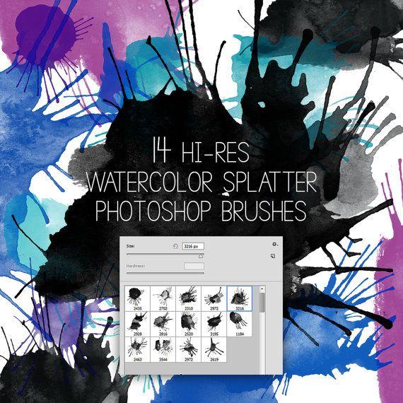 Watercolor splatter Photoshop brushes, Hi-res, watercolor clipart, abr file
