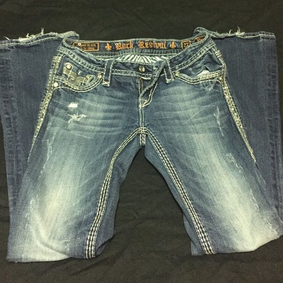Rock Revival Jeans Rock Revivals. Length 31. Worn but still in great condition. Bottoms are the only place you see wear. Rock Revival Jeans Boot Cut