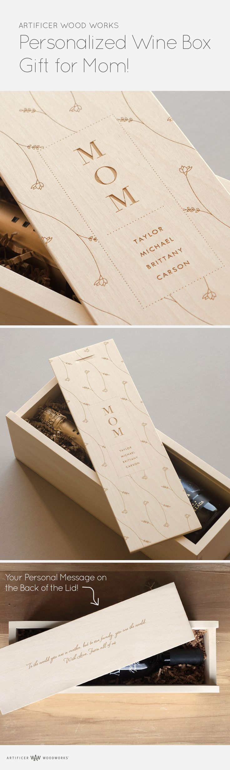 A beautiful wine box gift for Mom