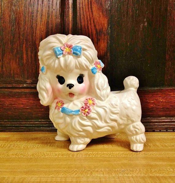 Poodle dog gift vase